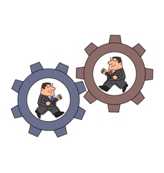 Businessmen in cogwheel machine vector