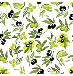 Seamless olive tree branches with fruits pattern vector