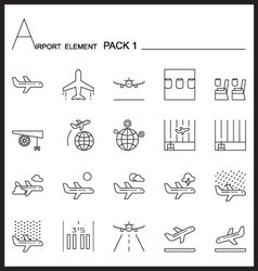 Airport element line icon set 1mono pack vector
