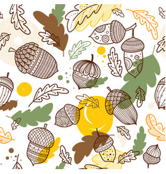 Acorn seamless pattern in boho style vector