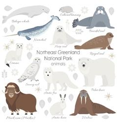 Arctic animal set white polar bear narwhal vector