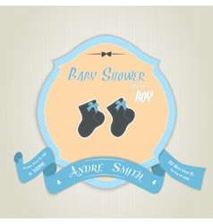 Baby shower invitation with socks for baby boy vector image vector image