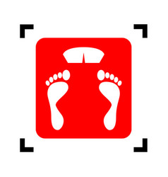 Bathroom scale sign red icon inside black vector