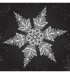 Beautiful hand drawn ornamental doodle snowflake vector image