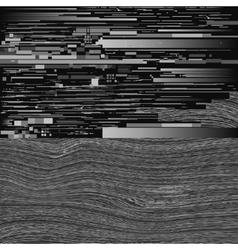 Black and white tv monitor glitch distorted vector