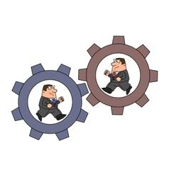 Businessmen in cogwheel machine vector image