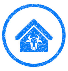 Cattle farm rounded grainy icon vector