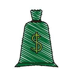 Color crayon stripe cartoon green money bag with vector