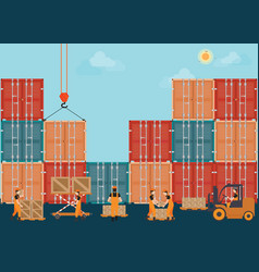 Containers with crain and workers working to vector