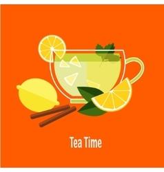 Cup of tea with lemon vector