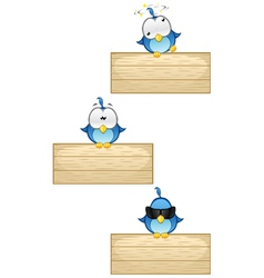 Cute Blue Birds on Wooden Sign Set 2 vector image vector image