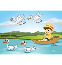 Ducks and a kid vector