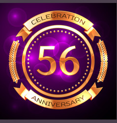 Fifty six years anniversary celebration with vector