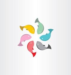 fish in circle abstract symbol vector image vector image