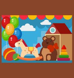 flat design restaurant toys shop facade vector image vector image