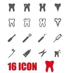 grey dental icon set vector image vector image
