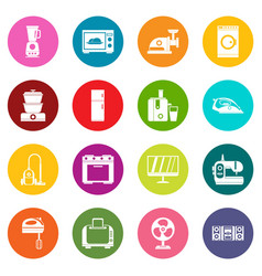 household appliances icons many colors set vector image