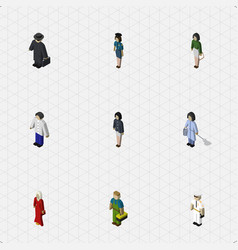 Isometric people set of male policewoman female vector
