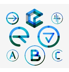 Logo set thin line clean style vector