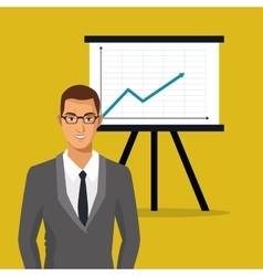 man business professional chart presentation vector image