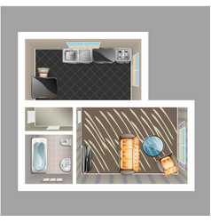 modern detailed floor plan for apartment vector image vector image