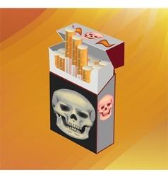 No Smoking cigarette skull on cigarettes vector image