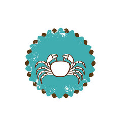 Old stamp border with silhouette crayfish vector