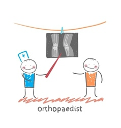 orthopaedist patient shows an X-ray vector image vector image