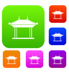 Pagoda set collection vector