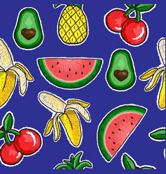 Pattern of fruits embroidery patch vector