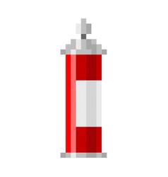 pixel spray can pixel grafitti art cartoon retro vector image vector image