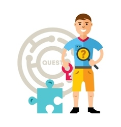 Quest room and man flat style colorful vector
