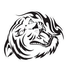 roaring tiger tattoo vintage engraving vector image