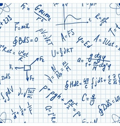 Seamless pattern physic formulas handwritting vector image