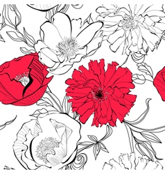 Seamless pattern with Poppy flowers vector image vector image