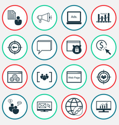 Seo icons set includes icons such as ppc vector