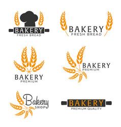 set of bakery shop emblem labels logo and design vector image vector image