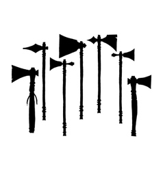 Set of silhouettes american indian tomahawks vector image