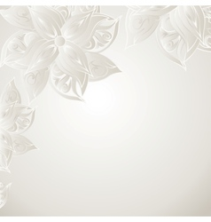 Silver background with floral ornament vector image