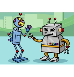 talking robots cartoon vector image