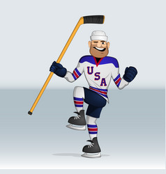 Usa team ice hockey player vector