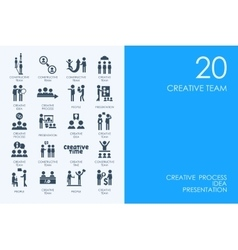 Set of blue hamster library creative team icons vector