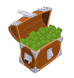 Open chest with money old casket with cash wealth vector