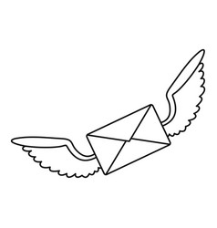 winged mail envelope icon outline style vector image