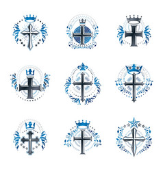 Crosses religious emblems set heraldic coat of vector