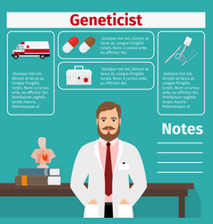 Geneticist and medical equipment icons vector