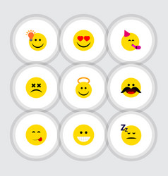 Flat icon face set of party time emoticon cross vector