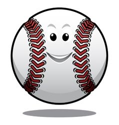 Happy white cartoon baseball ball vector