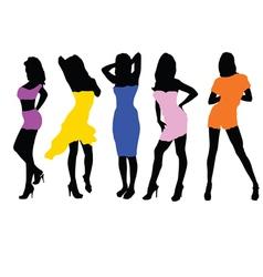 girls in dresses vector image