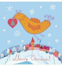 Bird and christmas vector